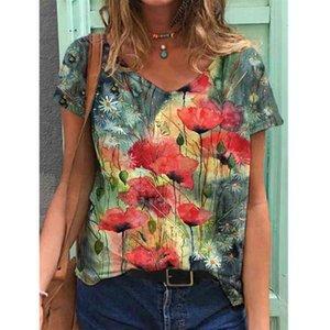 Estate Harajuku Tshirt Tshirt Floral Stampa PullOver Tops Donna Casual Manica Corta V-Collo V-collo allentato Plus Size T-shirt Femme Moda Abbigliamento Q0323