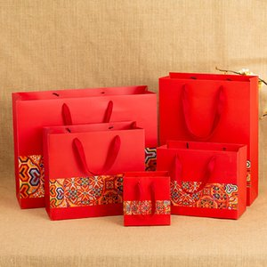 Chinese Style Packaging Gift Bag Red Festive Paper Gift Bag Handbag Wedding Candy Bag Gift Spot Customized