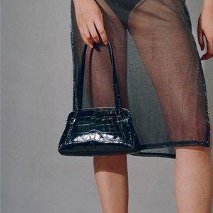 [EAM] Женщины ретро крокодил рисуя PU кожаная лоскут личности все-матч Crossbody сумка мода прилив 2021 18A14451