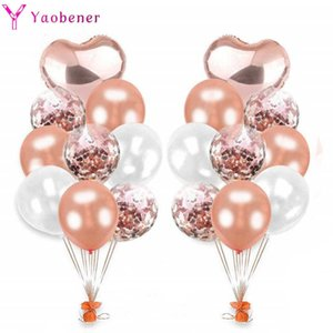 20pcs Rose Gold Heart Confetti Latex Balloon Happy Birthday Party Decorations Adult Kids Boy Girl Baby Shower Wedding Supplies Y0923