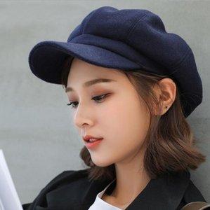 Outono inverno shade chapéus para mulheres sólida liso octogonal newsboy cap homens senhoras casuais lã chapéu inverno boina mulheres pintor tampões