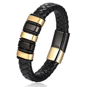 Charm Bracelets Luxury Designs Genuine Leather For Women Men Wholesale Jewelry Birthday Gift Vintage Gold Color Stainless Steel Bangle