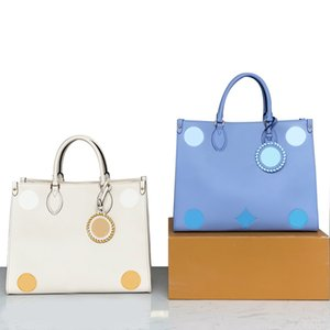 M45718 Top quality Summer Blue OnTheGo MM Tote bag Letter Embossing cowhide leather By the Pool Mummy shouder bags High-capacity Purse