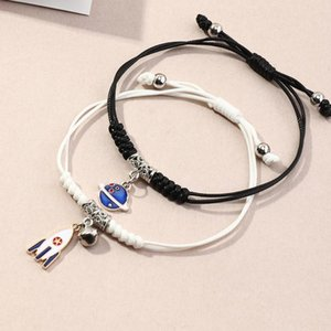 Charm Bracelets Couple Black And White Hand-woven Bracelet Planet Rocket Friendship For Friend Gifts