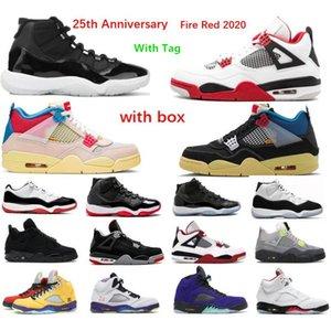 2021 اليوبيل 25th الذكرى 11S أحذية كرة السلة 4S أسود 5 النار الأحمر الفضة اللسان 11 الفضاء مربى منخفضة بيضاء بلين مدرب رياضة