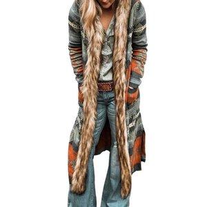 Kadın Tasarımcılar Giysi Moda 2019 Yeni Liste Yün Yaka Rüzgarlık Uzun Kollu Baskılı Uzun Siper Bahar Ceket