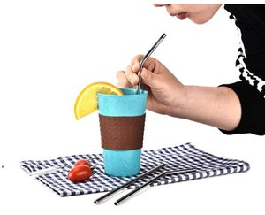 Stainless Steel Straws Straight and Bend Reusable Drinking Straw For Mug Cup Bar Accessories Tool 30OZ 20OZ DWE9885