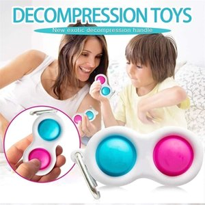 Push Pop Fidget Toys Keychain Simple Decompression Finger Bubble Toy Key Holder Ring Silicone Stress Ball Keychain Pendant H31HVFH