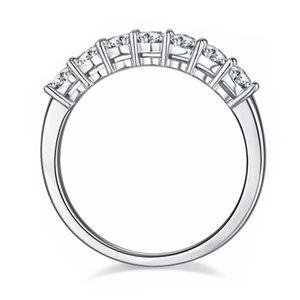Модное кольцо Anziw 925 Стерлинговое серебро Moissanite Diamond 3.0 мм Изысканное Семь Камень Вовлечение для Женщин Ювелирные Изделия Подарочные кольца N1
