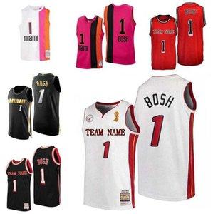 Özel S-6XL Erkek Kadın Gençlik Dikişli Basketbol Formaları 1 Chris Bosh Jersey Siyah Beyaz Mitchell Ness 2012-13 25th Parke Klasikleri