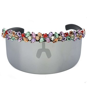 Oversized Diamond Goggle Sunglasses Women One-piece Vintage Mirror Colorful Crystal Sunscreen Shades Uv400 Retro Hat Glasses