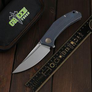 Thorn vert, cow-boy flipper couteau pliant D2 Lame, TC4 Titanium poignée de camping en plein air Utilitaire de chasse à la chasse au couteau pliant EDC outil