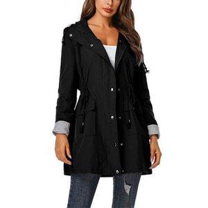 Women's Trench Coats Women Rain Jacket Long Waterproof Drawstring Hooded Windbreaker Poncho Breathable Portable Water-Repell Rainwear