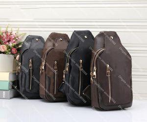 Cuero de alta calidad Avenida Sling Bolsa de hombro Diseñador de lujo Crossbody Paquetes de pecho Marca Hombres Deporte Viajes Viajes Outdoor Cartera Bolso