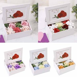 Flower Scented Bath Body Valentine's Day Gift Smokeless Christmas Candles Set Romantic Gifts Rose Soap Box Decorative Flowers & Wreaths