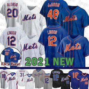 Новый Mens York Custom Mets Женщины 12 Франциско Линдор Бейсбол Джерси 20 Пит Алонсо Молодежь 48 Джейкоб Deemom 16 Dwight Gooden 52 Yoenis Crepedes