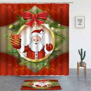 Shower Curtains Fun Santa Claus Red Set With Bath Mats Merry Christmas Xmas Gift Year Festival Washable Bathroom Decor Rugs