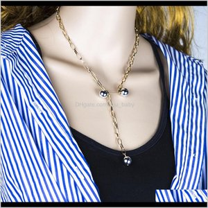 Fashion Cool Punk Chain Exaggerated Imitation Pearl Sexy Necklace Party Jewelry Lyina Beaded Necklaces O9Skp