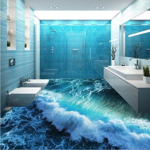 Kundenspezifische Bodenleitung 3d stereoskopisches Meer Meerwasser Schlafzimmer Badezimmerboden Tapete PVC wasserdichte Selbsthaft Wandbilder Tapete 684 v2