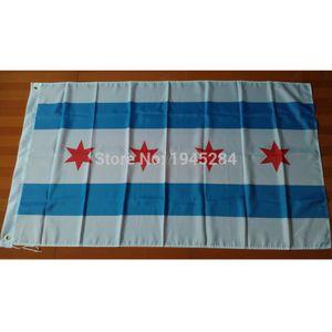 Chicago City Flag Banner USA Stadt Flagge Banner Vereinigte Staaten Amerika 3x5ft Polyester, Q0304