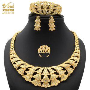 Bijoux Ensemble Nigéria perles Collier véritable bijoux de mariée de mariée Colliers pour femmes Gold Africain Wedding Designer Boucles d'oreilles de luxe