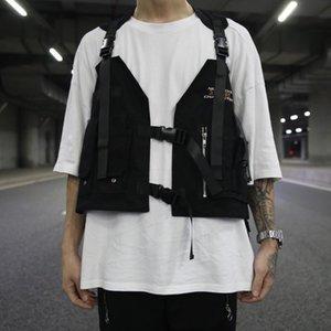 Men Multi Pocket Tactical Techwear Vest Black Multifunctional Waistcoat Women Harajuku Sleeveless Jacket Chaleco Tactico Militar Men's Vests