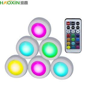 Haoxin Wireless LED Puck Lights RGB 12 Цвета Диммируемый сенсорный датчик Светодиод под кабинетным светом для закрытого шкафа лестничного прихожей ночной лампы