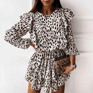 Casual Dresses Autumn Boho Cascading Ruffle Leopard Female Long Sleeve A Line Floral Print Women Elegant Midi Party Vestidos N2IW