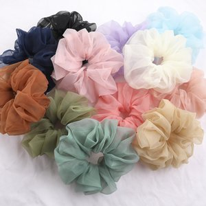 Large Chiffon Women Elastic Rubber Hairband Girls Candy Color Ponytail Holder Hair Ties Rope Sweet Girl Accessories 50pcs