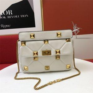 2021 Estilo de marca Mujer Vintage Evening Bag Big Rivets Bolsos Paquete Axilar Paquete Genuino Cuero de Cuero Individual Hombro Cross CRUZ CUERPO CUCHO CUCHO