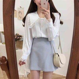 Beyaz Pembe Dantel Kızlar Moda Uzun Kollu Kadın Bluz Şifon Gömlek Bayanlar Parti Üst Streetwear Blusas Femininas Elegante T200720