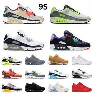 90 Koşu Ayakkabıları 90s Erkekler Kadınlar için Chaussures Camo UNC ABD Volt Üzüm Kızılötesi Üçlü Beyaz Siyah Erkek Eğitmenler Açık Spor Sneakers 36-45