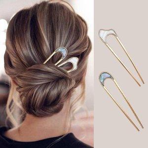 Stickers métalliques Bun Bun Pince-cheveux Retro Simple Gold U-Forme U-Forme U-Shape Updo Fork Clips Femmes Lady Styling Outil Accessoires Barrettes