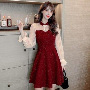 Старинные лоскутные женщины цельные платья корейские кружева высокие талии платья красный черный 602
