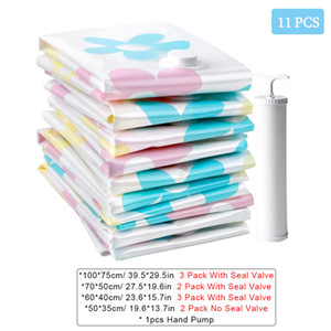 11PCS Vacuum Storage Bag Home Foldable Clothes Organizer Seal Compressed Travel Saving Bags Package With Hand Pump