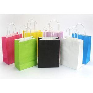 100 قطع 13 اللون الأزياء اليد هدية أكياس عيد الميلاد التفاف ورقة طول مقبض حزب الديكور Y0707