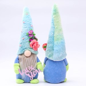 10PCS DHL Cartoon Blue Hat Rudolph Faceless Doll Mother's Day Gift Plush Dolls Love You Mum Plushed Dwarf Plush Gnome Party Ornament G32MO9F