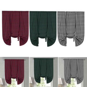 Tie Up Shade Buffalo Plaid Gingham Fit Farmhouse Window Curtain 42x63' Red L0320