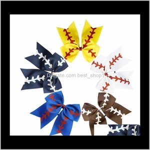 Softball Baby Headband Girl Baseball Cheer Hairbands Rugby Bowknot Dovetail Bows Cheerleading Accessory Ponytail Holders Dxi Accessori Cjan2