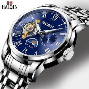 Наручные часы Haiqin Автоматические мужские часы Лучшие роскошные из нержавеющей стали Механические мужские наручные часы мода водонепроницаемый турбийль часы для меня
