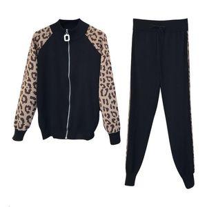 2021 suit women's new knitted leopard coat + trousers two-piece suit tide 0229