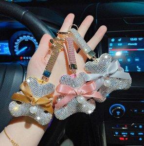 Полный бриллиант бабочка медведь брелок мода кукла хрусталь милый мультфильм брелок подвесной автомобиль цепь оптом аксессуары для украшения аксессуары