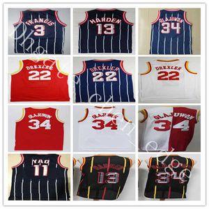 Retro Basketball James 13 Härten Trikots Nähte Vintage Hakeem 34 Olajuwon Tracy Steve 1 McGrady 3 Francis Yao Clyde 11 Ming 22 Drexler
