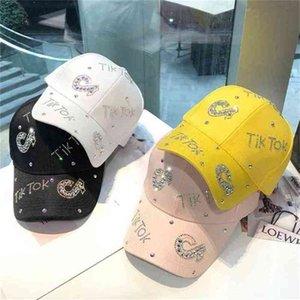 2021 Autumn Winter Rhinestone Tiktok Letters Base Ball Caps Fashion Solid Colors Boys And Grils Hot Drilling Tik Tok Visor Baseball Hats G979OOH