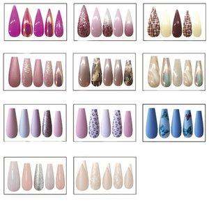 30pcs Shiny Ballet False Nails Tips Long Coffin Fake Fingernails Tip Acrylic Adhesive Gel Full Cover for Women Girls DIY Nail Art Salon