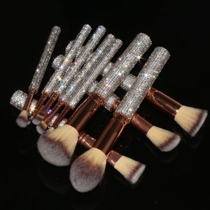 Wholesale Quality Holder Custom Rhinestone Makeup Brushes Private Label Brush Set Bling OEM Vendors