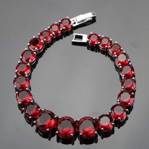 925 Sterling Silver Jewelry 18cm Red Stones Charms Bracelets for Women Wedding Zircon Jewelery Free Gift Box