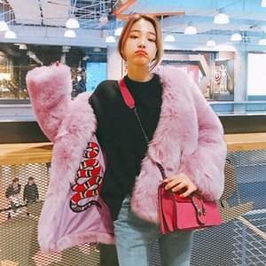 Women's Fur & Faux Womens Furry Embroidery Peacoat Coats Outwear Warm Thicken Girls Slim Fit Black Pink Short 2021
