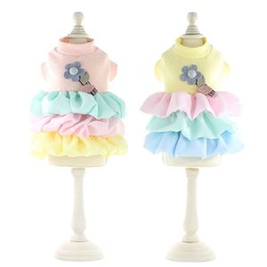 Dog Apparel Spring Summer Dresses Rainbow Cake Skirt for Dogs Flowery Princess Costume