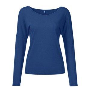 여자 Tshirts 패션 V 넥 소켓 솔리드 레저 시간 파란색 풀 오버 긴 소매 여성을위한 스웨터 탑스 셔츠 여성의 티셔츠